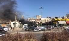 اللاجئون الفلسطينيون يغلقون مدخل مخيم برج البراجنة