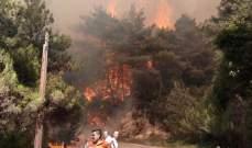 الجيش تمكن من اجلاء مواطنين احتجزوا بسياراتهم جراء الحريق على طريق عام القبيات الرويمة