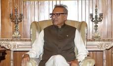الرئيس الباكستاني أكد دعم بلاده لوحدة أراضي أذربيجان