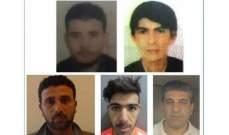 قوى الأمن تعمم صور 5 سجناء فارين