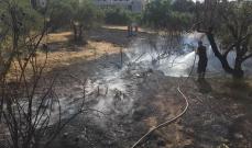 عناصر الدفاع المدني اخمدوا حريقاً اندلع بالقرب من المنازل في بلدة الشيخ محمد العكارية