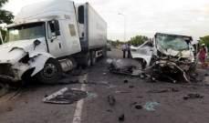 سقوط 17 قتيلا نيجيريا جراء تصادم حافلة وشاحنة