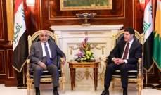 البارزاني وعبد المهدي أكدا الحرص على عدم تحويل العراق لساحة نزاعات لجهات دولية