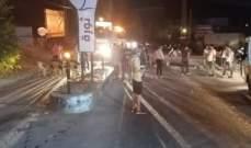 قطع طريق مرجعيون البقاع عبر الحاصباني راشيا الوادي عند مثلث سوق الخان