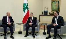 خلوة بين الرئيس عون وبري والحريري قبيل الإفطار الرمضاني في قصر بعبدا
