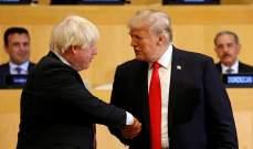 ترامب هنأ جونسون بفوزه برئاسة وزراء بريطانيا: سيكون رائعا