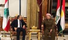 باسيل عرض مع البرزاني انتصار كردستان ولبنان على داعش