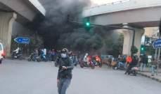 قطع السير تحت جسر المطار باتجاه السفارة الكويتية