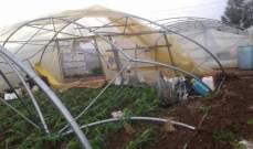 أضرار كبيرة في المزروعات والبيوت البلاستيكية في قعبرين بسهل عكار