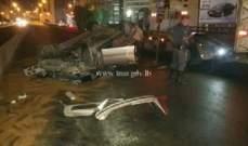 جريح نتيجة تصادم محلة الصفرا وآخر في الكولا وانقلاب مركبة على اوتوستراد شكا