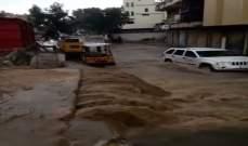 النشرة: الامطار شكلت بركا ومستنقعات على الطرقات في مدينة النبطية