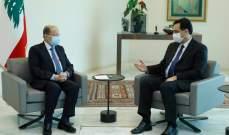الرئيس عون يلتقي دياب قبيل جلسة مجلس الوزراء في قصر بعبدا
