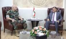 قائد الجيش استقبل محمد الحوت ووفدا من الديمقراطي اللبناني وهيئات