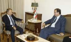 باسيل عرض مع سفيري فرنسا والصين للأوضاع والعلاقات الثنائية
