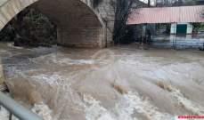 النشرة: فياضانات بسبب ارتفاع مسنوب مياه الحاصباني والاضرار مادية
