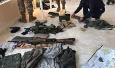 الجيش: توقيف شخص وضبط أسلحة وذخائر وأعتدة ببلدة القلمون في طرابلس