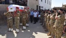 قيادة الجيش وأهالي بعلبك شيعوا المعاون علي العفي الذي استشهد اليوم في دورس
