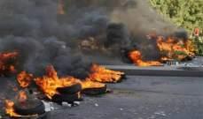 النشرة: قطع مدخل أوتوستراد الأولي شمال صيدا بالإطارات المشتعلة