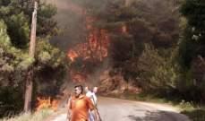 الحريق في أكروم خرج عن السيطرة ووصل إلى الأماكن المأهولة بالسكان