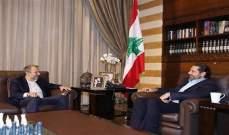 لقاء الحريري باسيل بحث شؤون الكهرباء والتعيينات والنزوح ومكافحة الفساد