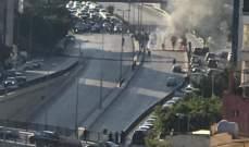 LBCI: قطع أوتوستراد بيروت- الحازمية بالكامل بالإطارات المشتعلة