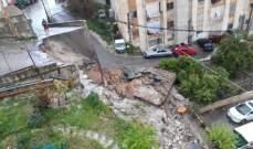 النشرة: 40 عائلة في 3 مبان يعانون انهيار حائط دعم في حارة صيدا
