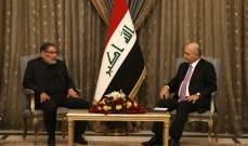 صالح أكد لشمخاني ضرورة التعاون بين البلدين للحد من انتشار فيروس كورونا