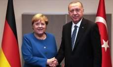 أردوغان بحث في اتصال هاتفي مع ميركل مستجدات أوضاع شمال شرقي سوريا