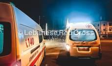 اصابة امرأة اثر انزلاق سيارتها بسبب تسرب للمازوت على طريق كفرحي