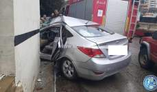 قتيل وجريحان نتيجة اصطدام مركبة بحائط على طريق عام بحمدون