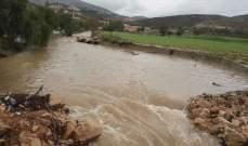 النشرة: ارتفاع منسوب نهري الليطاني والزهراني والمياه تفيض على جانبيهما