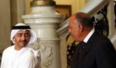 وزير الخارجية الإماراتي يبحث الوضع في شرق المتوسط مع نظيره المصري
