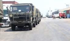 """الجيش: اللواء اللوجستي تسلّم 15 شاحنة نوع """"DAF"""" هبة من السلطات الهولندية"""