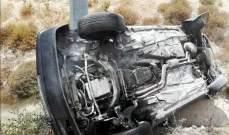 3 جرحى جراء تصادم بين سيارتين وانقلاب إحداها على أوتوستراد صيدا- صور