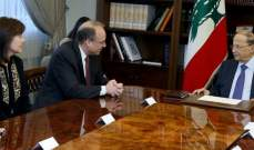 الرئيس عون التقى مساعد وزير الخزانة الأميركية لشؤون مكافحة تمويل الإرهاب