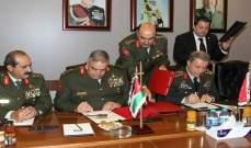 رئيسا الأركان التركية والأردنية وقعا اتفاقا للتعاون العسكري بين البلدين