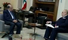 الرئيس عون عرض مع البستاني الاوضاع العامة وحاجات منطقة الشوف
