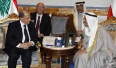 خلوة ثنائية بين الرئيس عون وأمير الكويت في مكتبه بقصر البيان