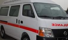 الدفاع المدني: جريح اثر تعرضه لحادث صدم بمحاذاة الاوتوستراد في ادما