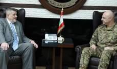 قائد الجيش عرض مع الممثل الخاص للأمين العام للأمم المتحدة للتطورات بلبنان والمنطقة