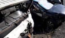 الدفاع المدني: أربعة جرحى إثر حادث سير عند مفترق سوق الغرب في عاليه