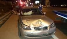 جريحان بحادث سير على أوتوستراد برجا وجريحة بحادث صدم في جورة الترمس