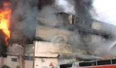 النيران في معمل الزيوت بالمكلس لا زالت مشتعلة وعمليات الاخماد مستمرة
