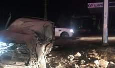 جريح نتيجة اصطدام سيارة في محيط محطة لتعبئة الوقود في كفردبش