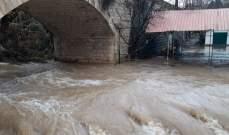النشرة: ارتفاع منسوب مياه نهر الحاصباني نتيجة الامطار