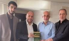 """خريس التقى وفدا من """"حماس"""" في صور وتم التشديد على رفض صفقة القرن وضرورة إسقاطها"""