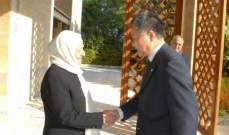 سفير الصين التقى بهية الحريري: نتطلع لمزيد من التعاون مع صيدا