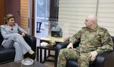 قائد الجيش بحث وضاهر في التحضيرات لمؤتمر روما والتقى زوارا