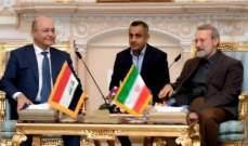 لاريجاني: الدول الحاقدة فشلت في هزيمة العراق الذي له دور هام في المنطقة