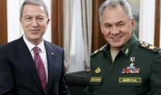 وزيرا دفاع تركيا وروسيا يبحثان تدابير تهدئة التصعيد بإدلب